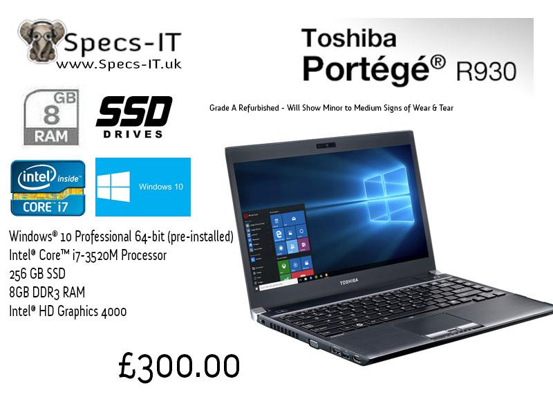Toshiba r930 intel core i7 3520m 8gb ram 640gb hdd for Toshiba portege r core i7